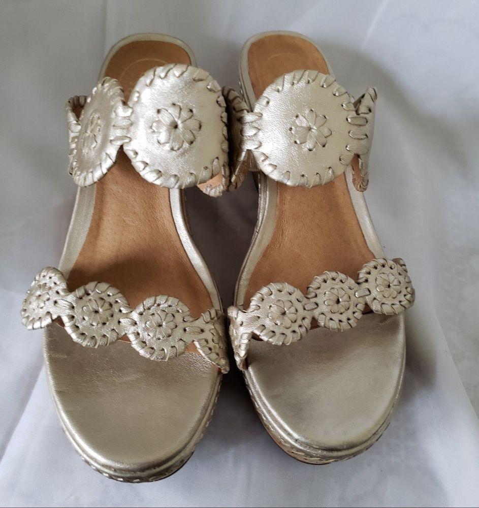 db7bdf98880e Jack Rogers Metallic Gold Leigh Platform Slides Cork Wedge Sandals Size 9 M   fashion  clothing  shoes  accessories  womensshoes  heels (ebay link)