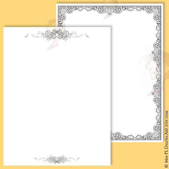 Pretty digital page 8x11 frames border set, with floral designs ...