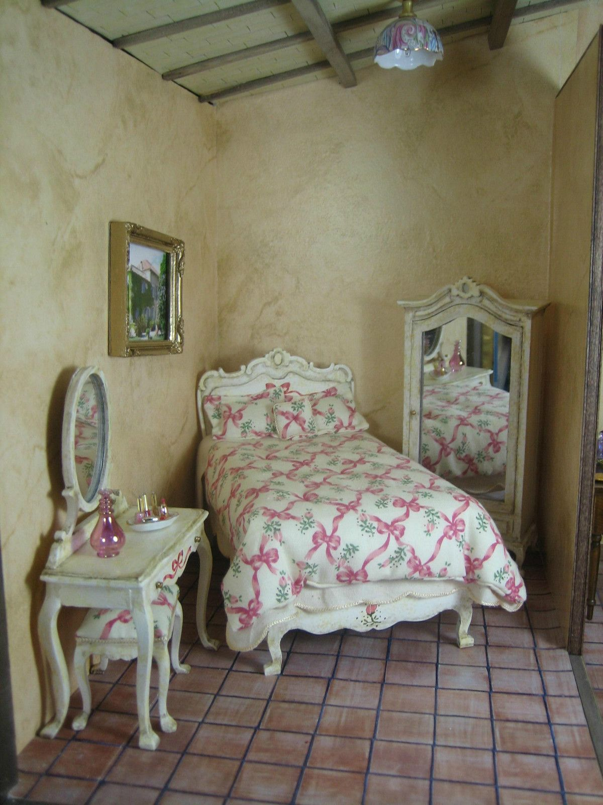 Artisan Made Dollhouse Miniature 4 Piece French Bedroom