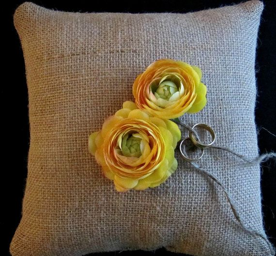 Sweet Burlap Ring Bearer Pillow  Yellow Ranunculus by SweetBennett, $15.00