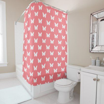 White Butterflies On Coral Pink Shower Curtain