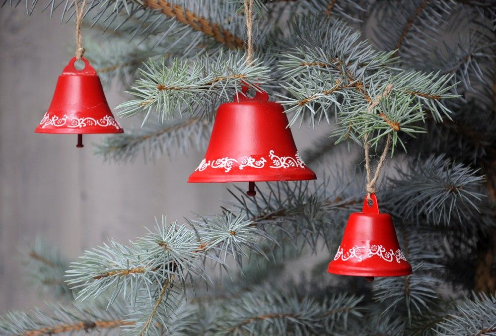 large red folkart christmas bell decoration dotcomgiftshop - Large Christmas Bells Decorations