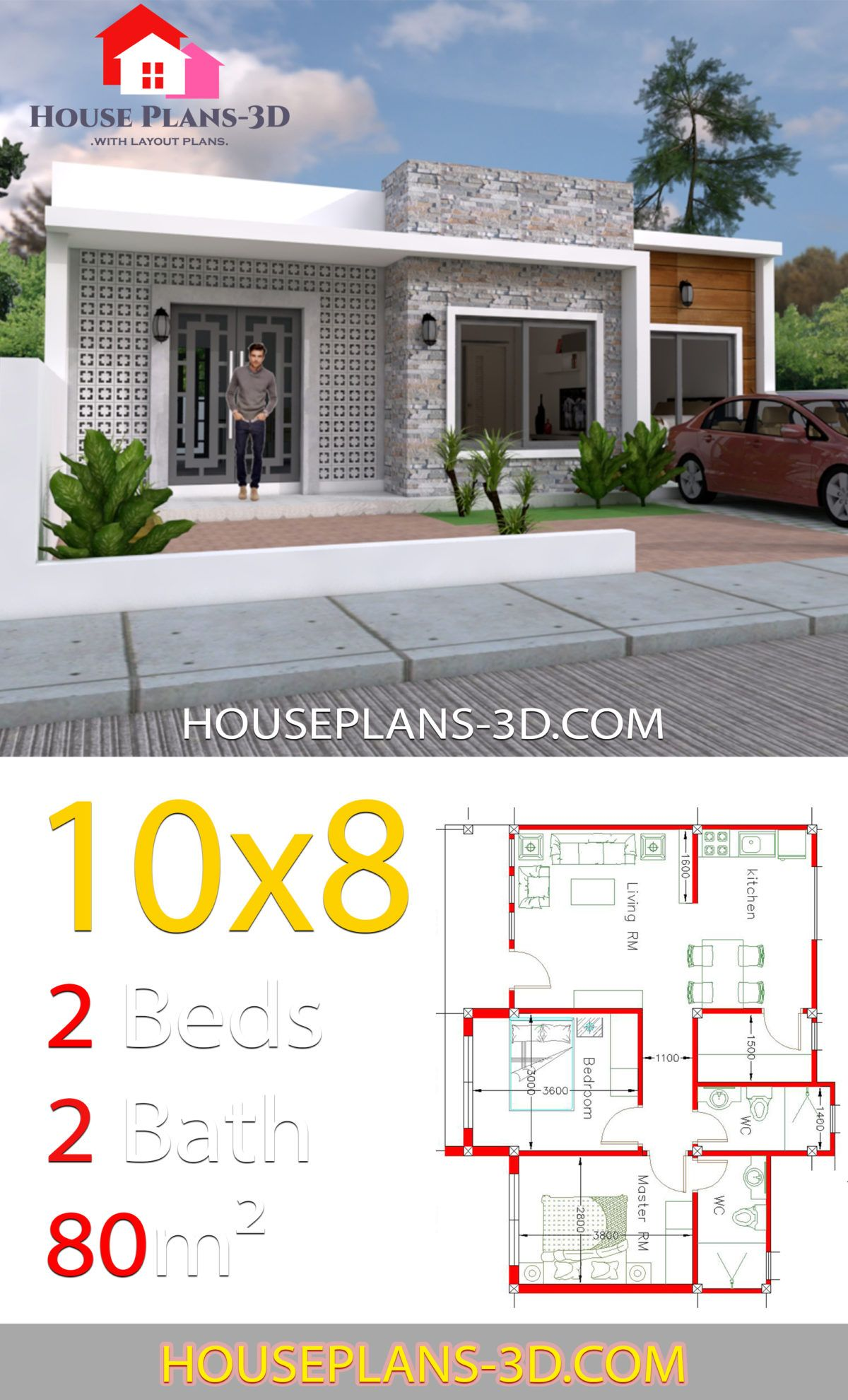 House Design 10x8 With 2 Bedrooms House Plans 3d House Plans 3d House Plans House Front Design
