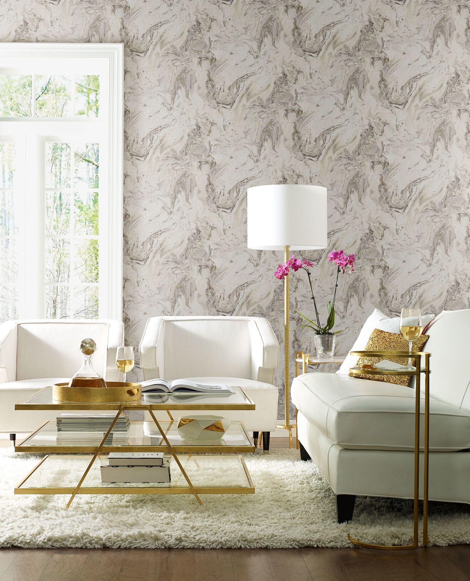 Antonina Vella Oil & Marble Wallpaper Grey/Glint
