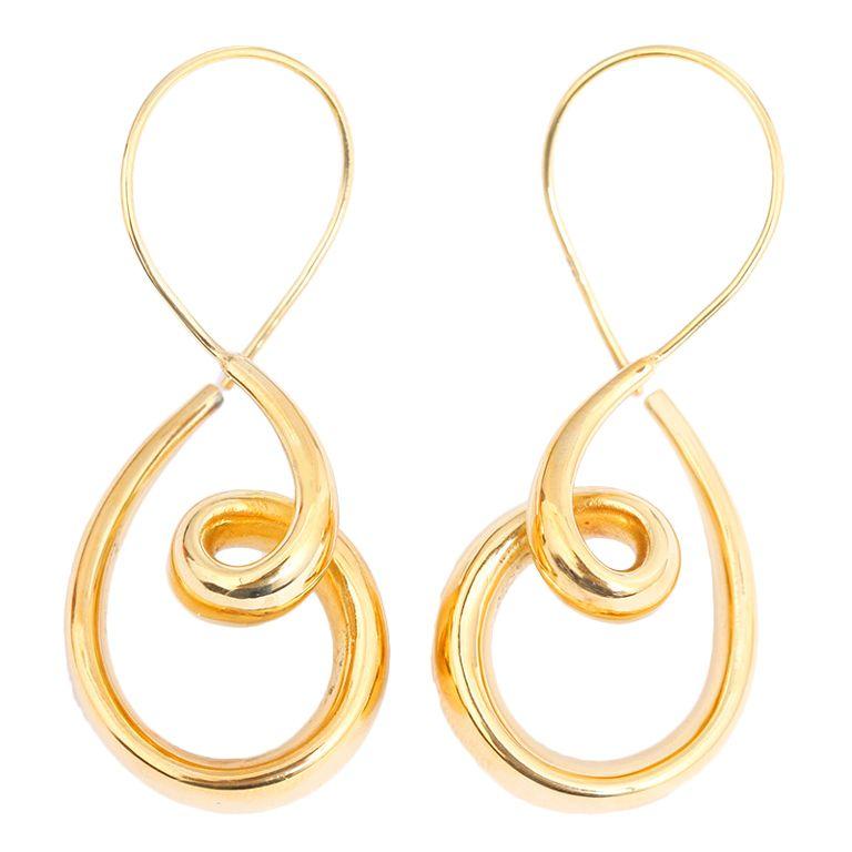 Beautiful Unusual Large Yellow Gold Swirl Dangle Earrings