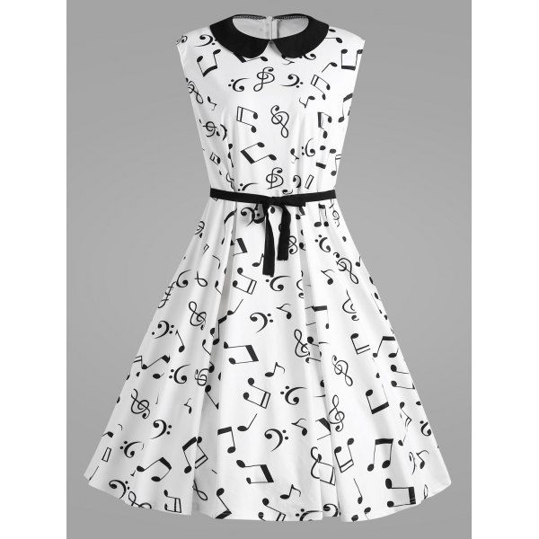 Plus Size Musical Notes Printed Collared Retro Dress For Madeleine