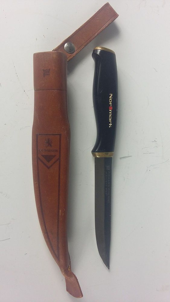 Details about VINTAGE NOR MARK HUNTING KNIFE W/LEATHER SHEATH MADE