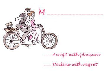 Bike Modern Free Printable  Wedding RSVP Card