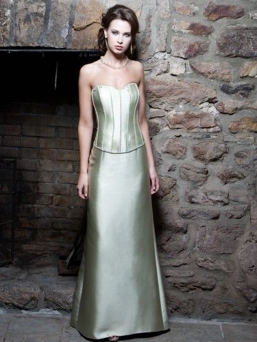 Silky Wool Strapless Sweetheart Beaded Accents Seams Bodice A-line Bridesmaids Dress