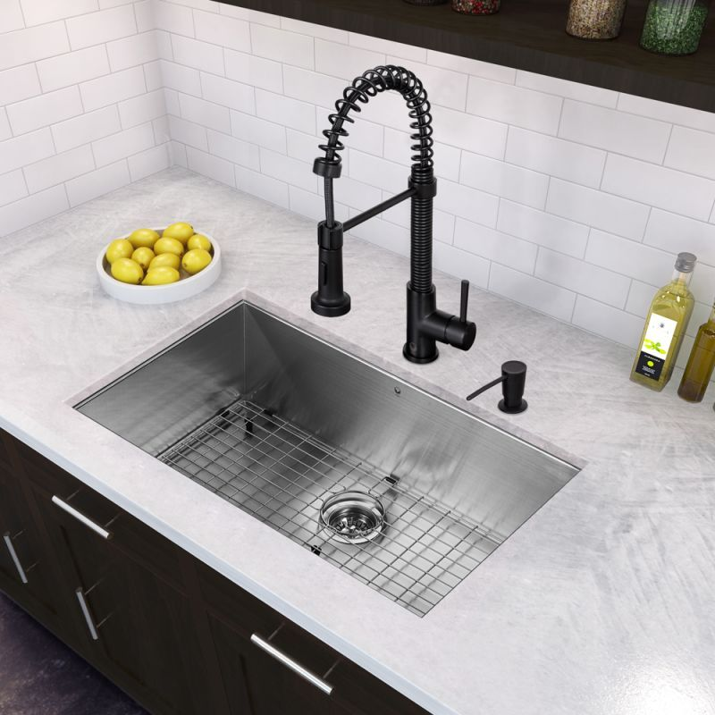 Vigo Vg15378 32 Single Basin Undermount Stainless Steel Kitchen Sink With Vg Stainless Steel Kitchen Sink Undermount Undermount Kitchen Sinks Kitchen Faucet