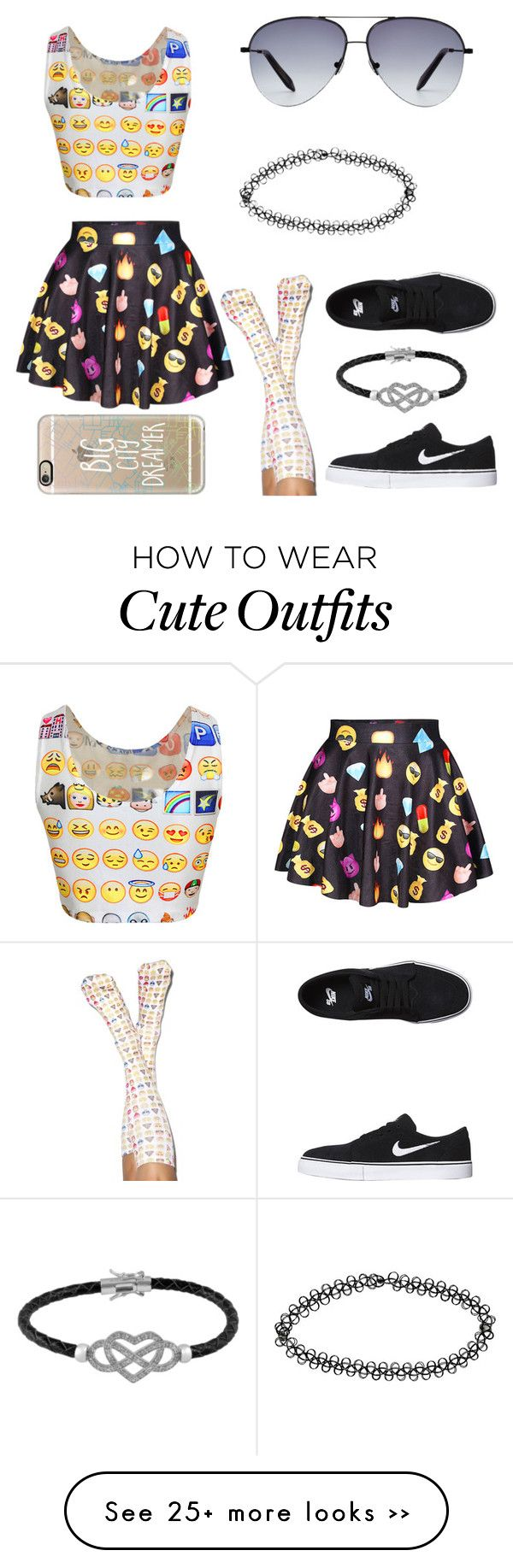 """Emoji outfit"" by idrkay on Polyvore featuring moda, NIKE, Victoria Beckham, Casetify, Jewel Exclusive, Living Royal e Boohoo"