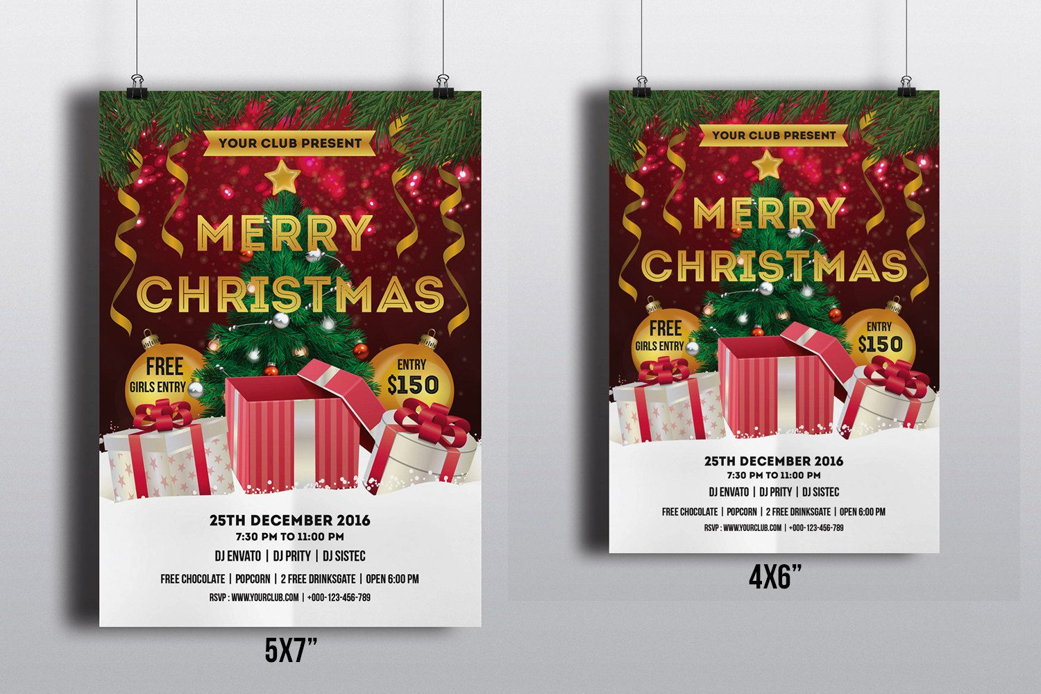 Printable Christmas Party Flyer Template  Holiday Party
