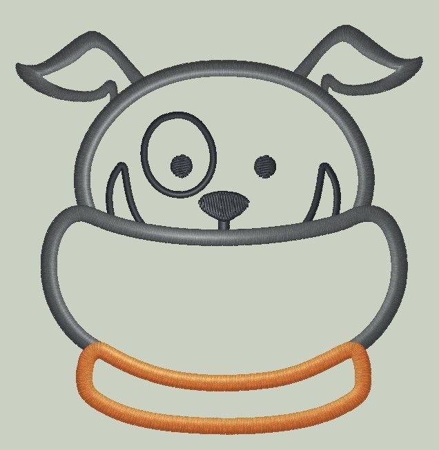 Funky Bulldog Applique Design #funnybulldog