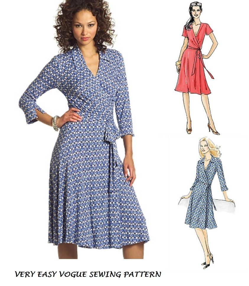Very easy vogue v8379 misses wrap front dress sewing pattern plus very easy vogue v8379 misses wrap front dress sewing pattern plus size 8 22 jeuxipadfo Image collections
