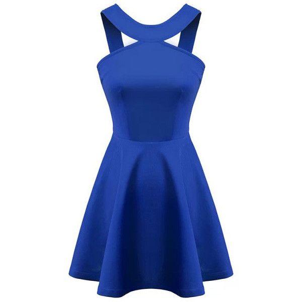 7c154e622864 SheIn(sheinside) Blue Strap Backless Flouncing Flare Dress ($18) ❤ liked on Polyvore  featuring dresses, sheinside, short dresses, vestidos, robe, blue, ...