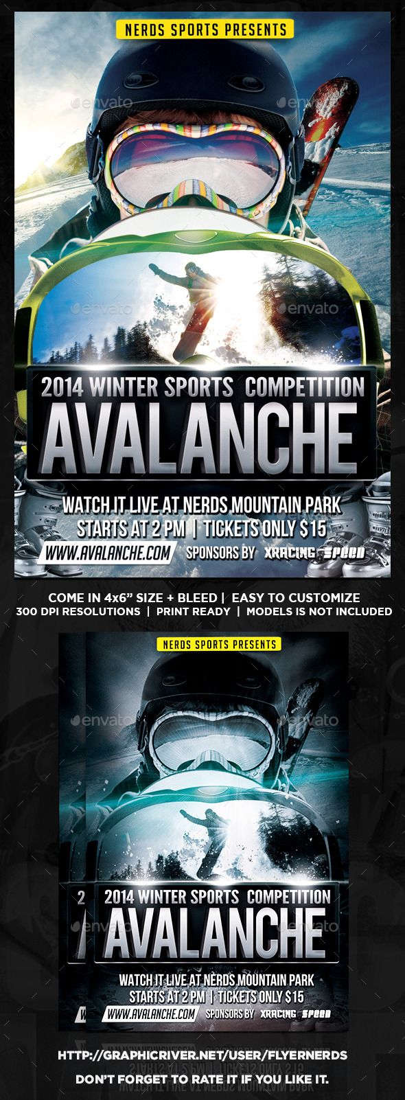 Avalanche Winter Sports Tournament Flyer