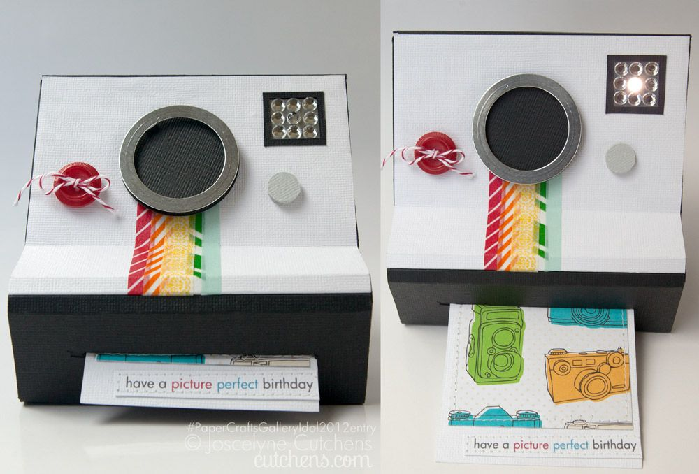 Interactive Polaroid Card Tutorial - the flash lights up when you pull out the greeting/photo. Totally Genius!