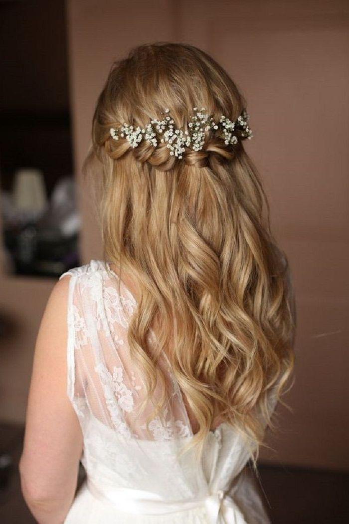 20+ peinado de novia velo medio abierto flores con velo