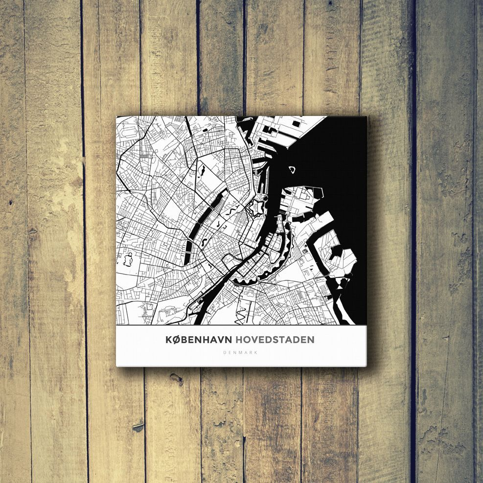 Houston Map Framed%0A Gallery Wrapped Map Canvas of Copenhagen Denmark  Simple Black Ink   Copenhagen Map Art