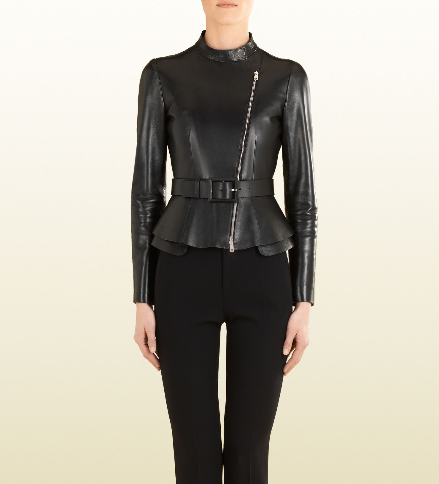 black leather zip front jacket Jackets, Gucci leather
