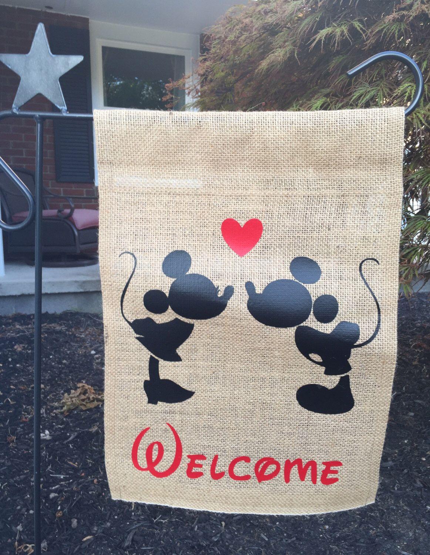 Disney inspired burlap garden flag, Mickey and Minnie kissing, Walt Disney home decor
