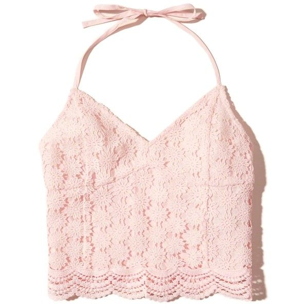 d6db9ddf38ec2 Hollister Lace Halter Crop Top ($25) ❤ liked on Polyvore featuring tops,  crop top, shirts, tanks, light pink lace, lace top, pink crop top, pink  lace shirt ...