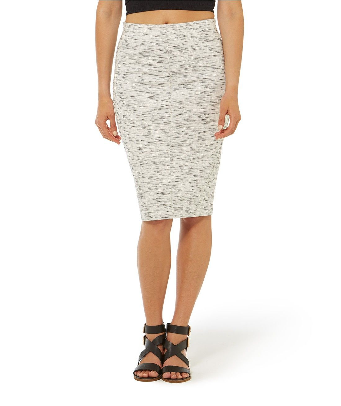 Go sports-luxe with our Marled Midi Tube Skirt. This stretch midi skirt features centre back split and slips on.