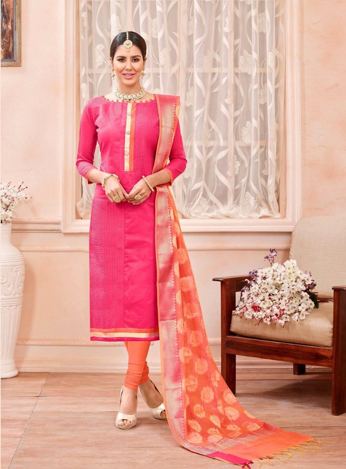 Pink chanderi cotton punjabi suit with banarasi jacquard dupatta ... 611a72344