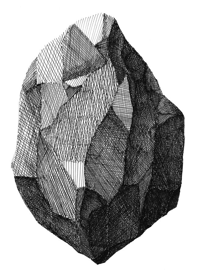 Varied texture rendition through the use of cross hatching allows the form of the object to be explored.