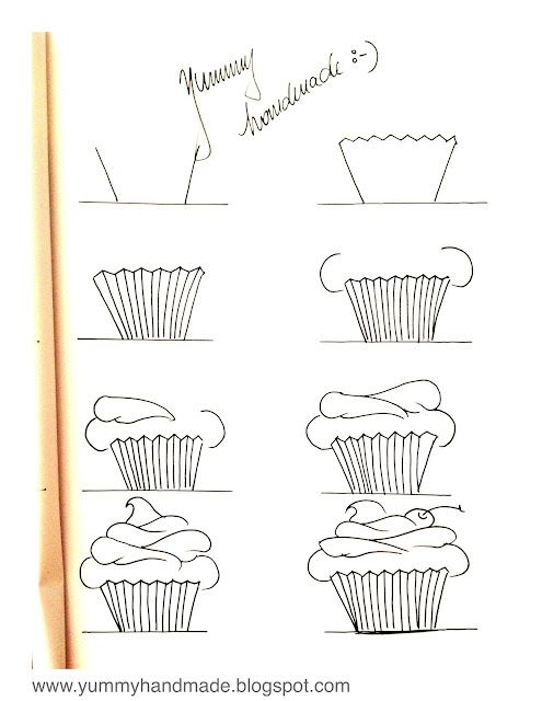 How to draw a cupcake  Step By Step  www.yummyhandmade.blogspot.com