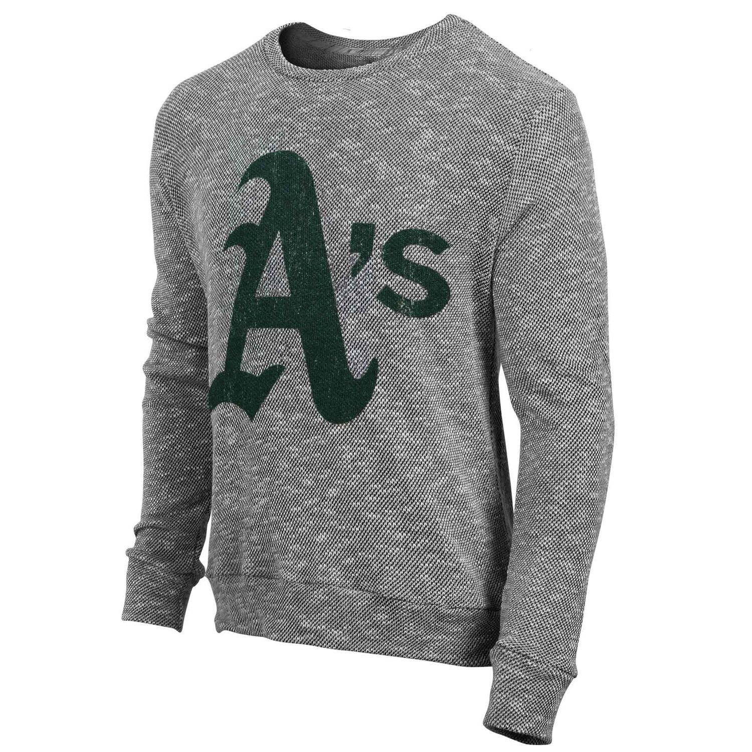 c22399aa Majestic Threads Oakland Athletics Gray Tri-Yarn Long Sleeve Crew T-Shirt