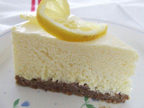 Slice Lemon Quark Fridge Cheesecake Sugar Free With Stevia