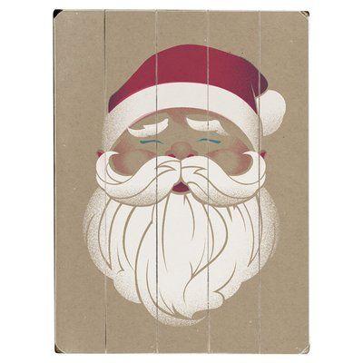Artehouse LLC Vintaged Santa Drawing Print Multi-Piece Image on Wood