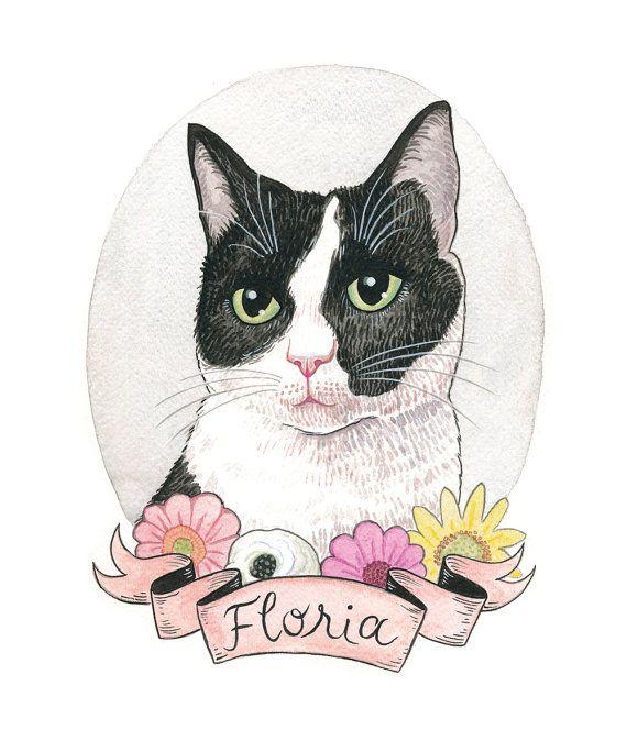 7d5f2df3e388 Custom Cat Portrait. Black and White Cat. Cat Art. Custom Pet ...