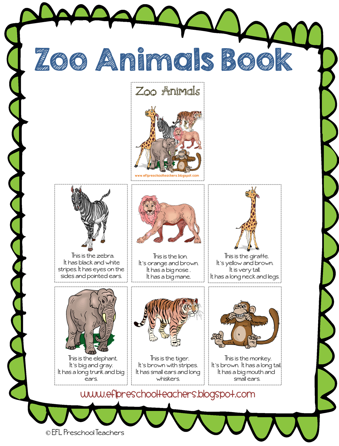 ESL Zoo Animals unit printable book Zoo animal theme