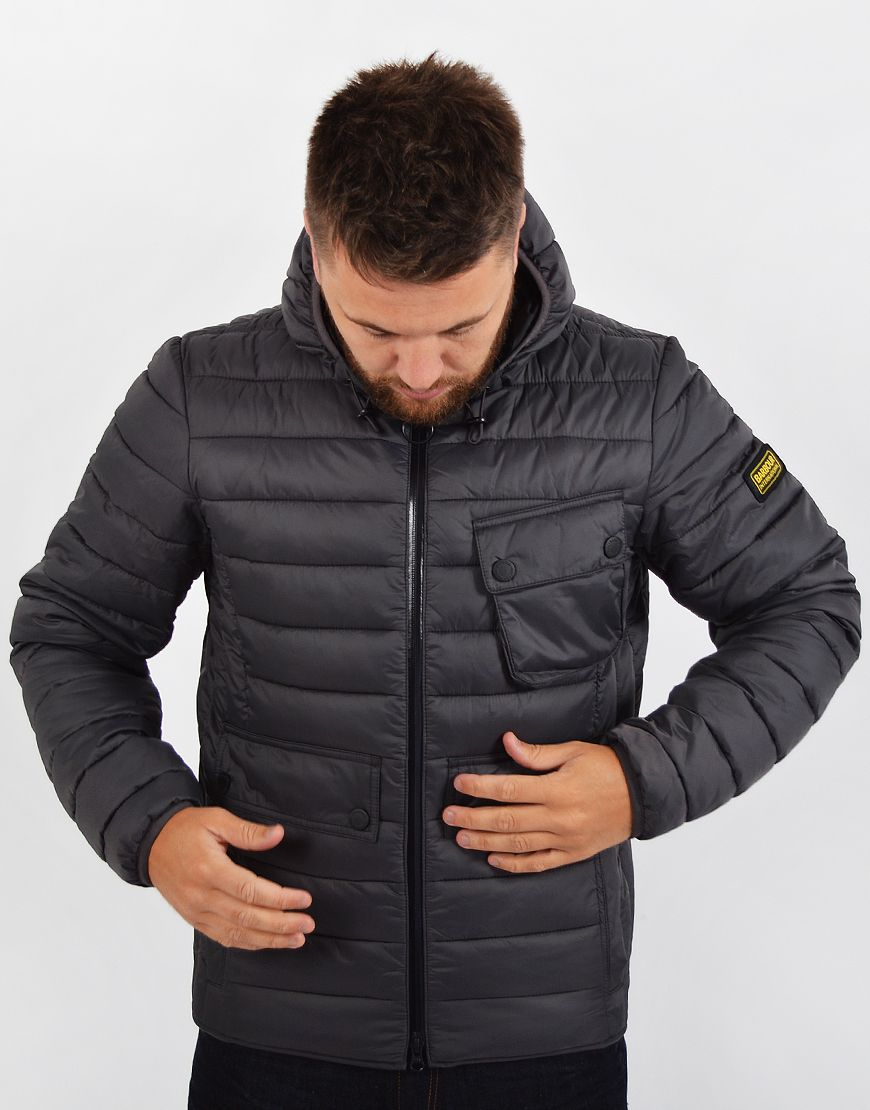 Barbour International Ouston Hooded Quilt Jacket Charcoal