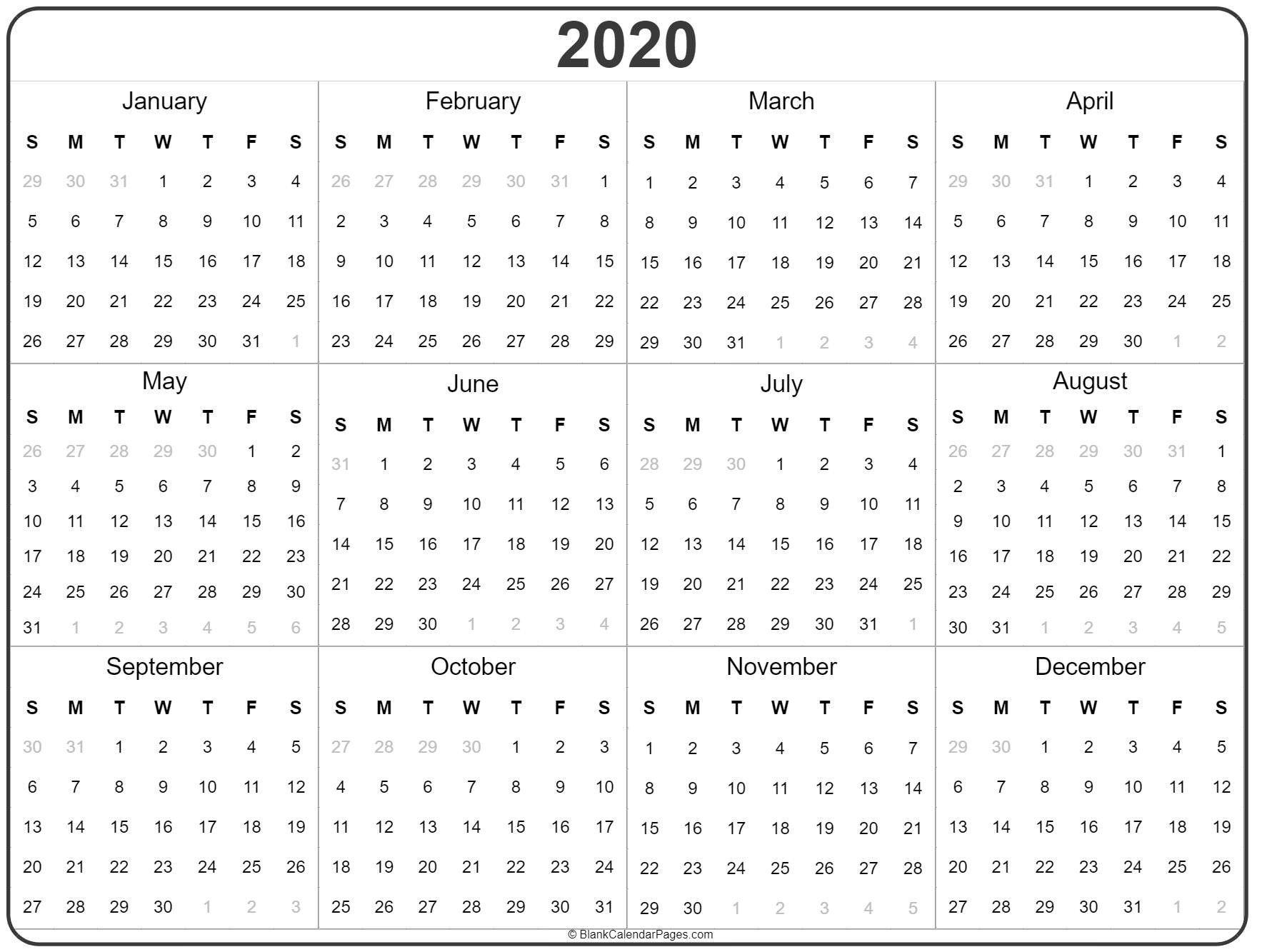 2020 Year Calendar Yearly Printable 2020 Year Calendar Yearly