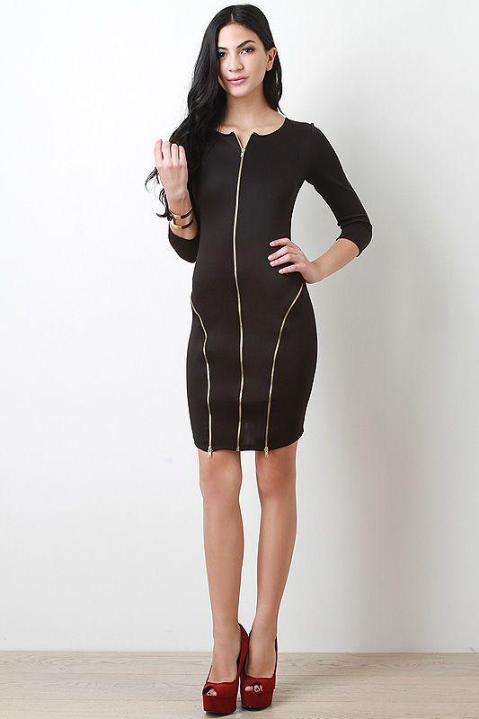 Triple Zip Bodycon Dress