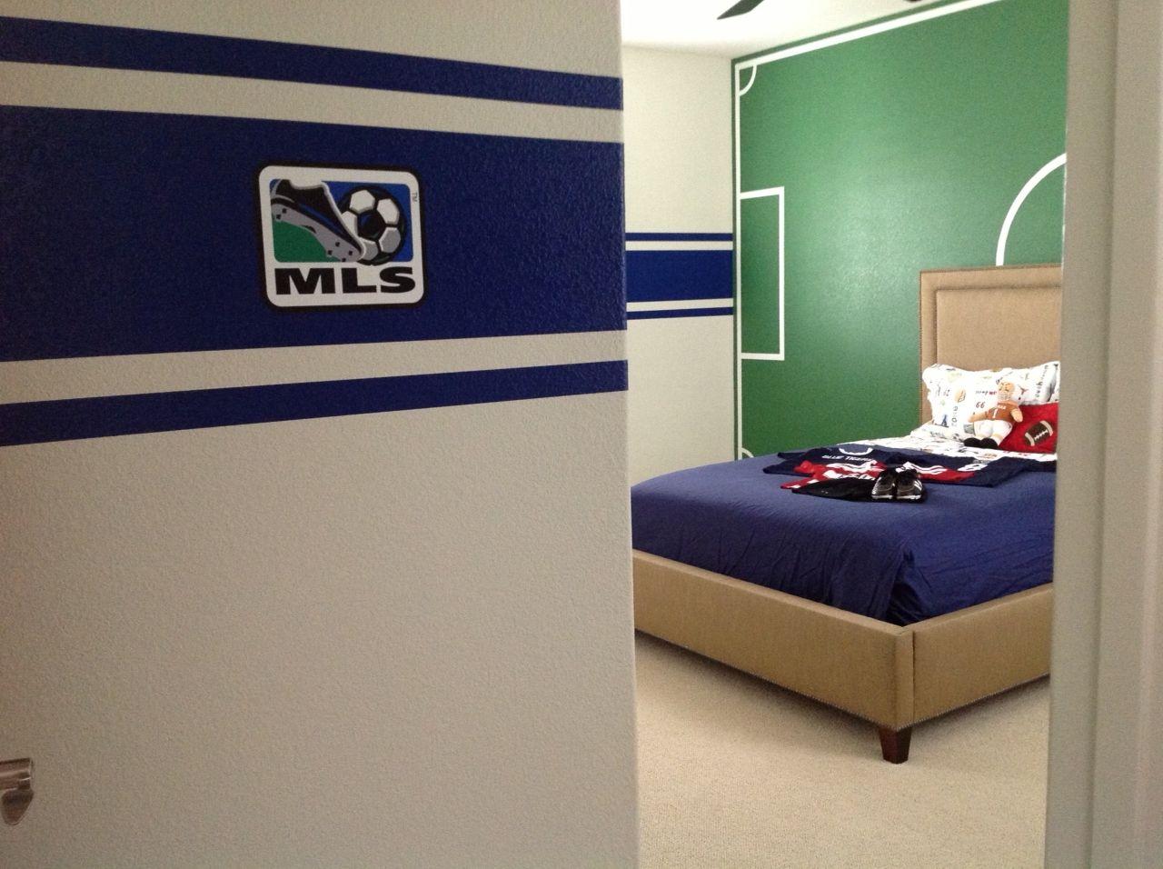 Boys Soccer Painted Soccer Field Sports Room  Kids Room