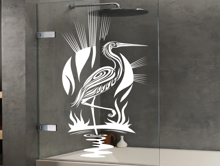 Wonderful Tribal Heron Bird Stickers For The Glass Screen Panels And Doors Of  Showers. The Shower Transfers Are Made From A Self Adhesive Vinyl And Will  Not Peel Or ...