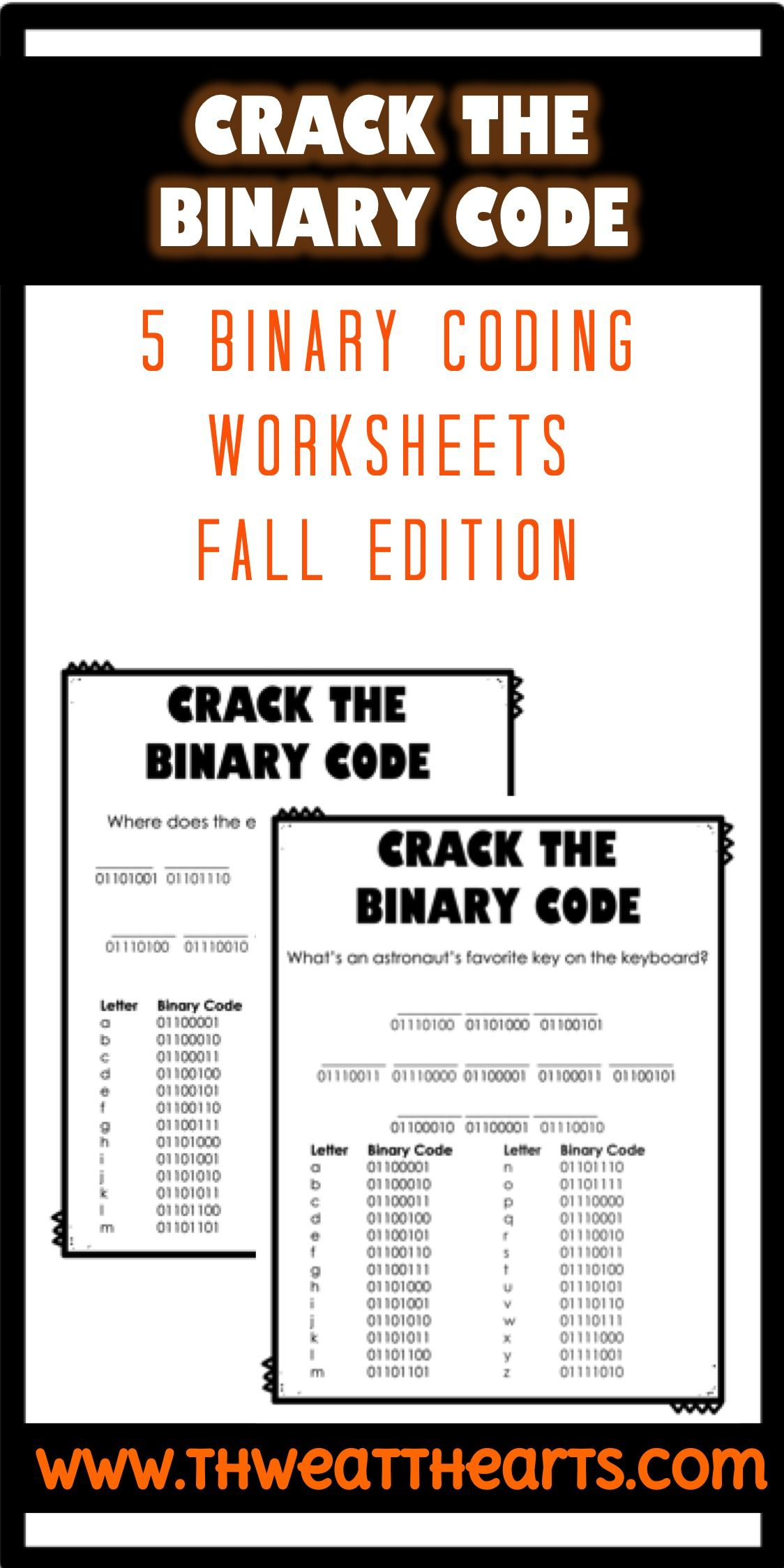 Crack The Binary Code Fall Worksheets Technology In The Classroom