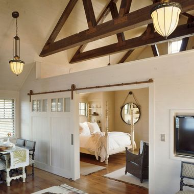Exposed Truss Stained And Painted Design Ideas Pictures Remodel Beauteous Castle Building And Remodeling Decor Painting