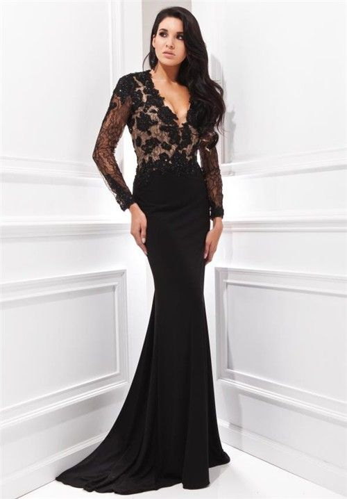 14c452980aa72 Sexy Deep V Neck Keyhole Open Back Long Sleeve Black Chiffon Lace Applique  Evening Dress