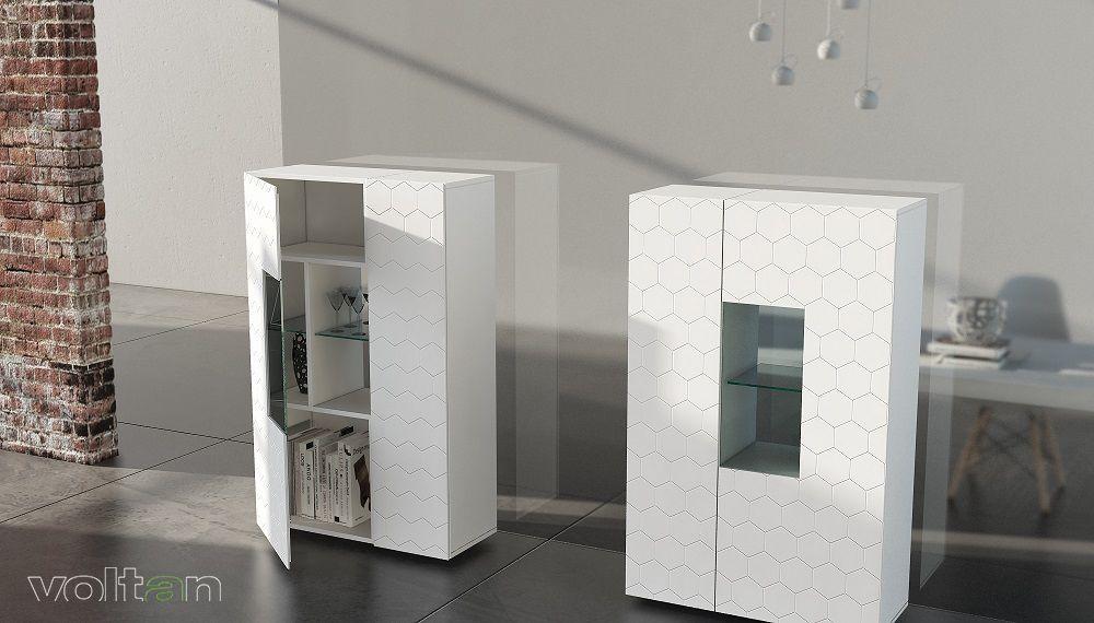 Credenza Bianca Con Vetrina : Credenze moderne alte bianche con vetrina teca modello 55 1