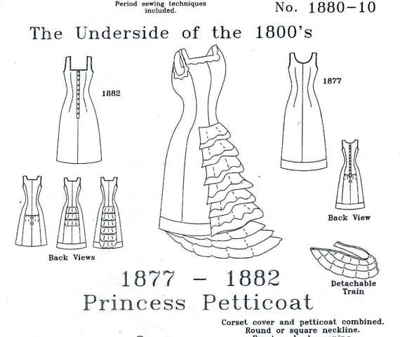 Victorian Underwear Pattern: Princess Petticoat Historical Multi Size Sewing Pattern 1880-10