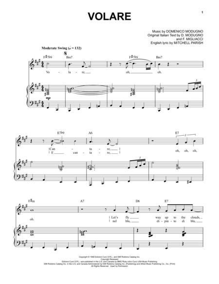 Volare Nel Blu Dipinto Di Blu Digital Sheet Music Sheet Music Music