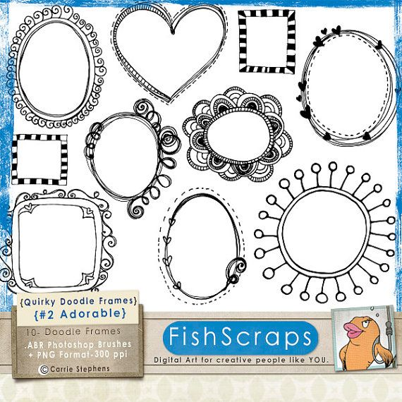 Quirky Labels - Clip Art Frames - Adorable 2  Whimsical Hand Drawn Doodles by FishScraps.  Personal and Commercial Use - Photoshop Brushes