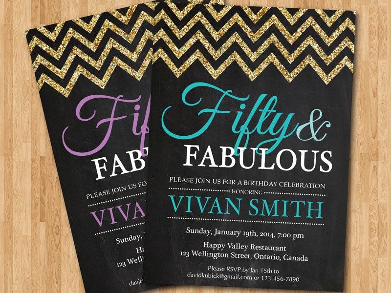 50th birthday invitation women. Glitter Glam Chevron Birthday Party ...
