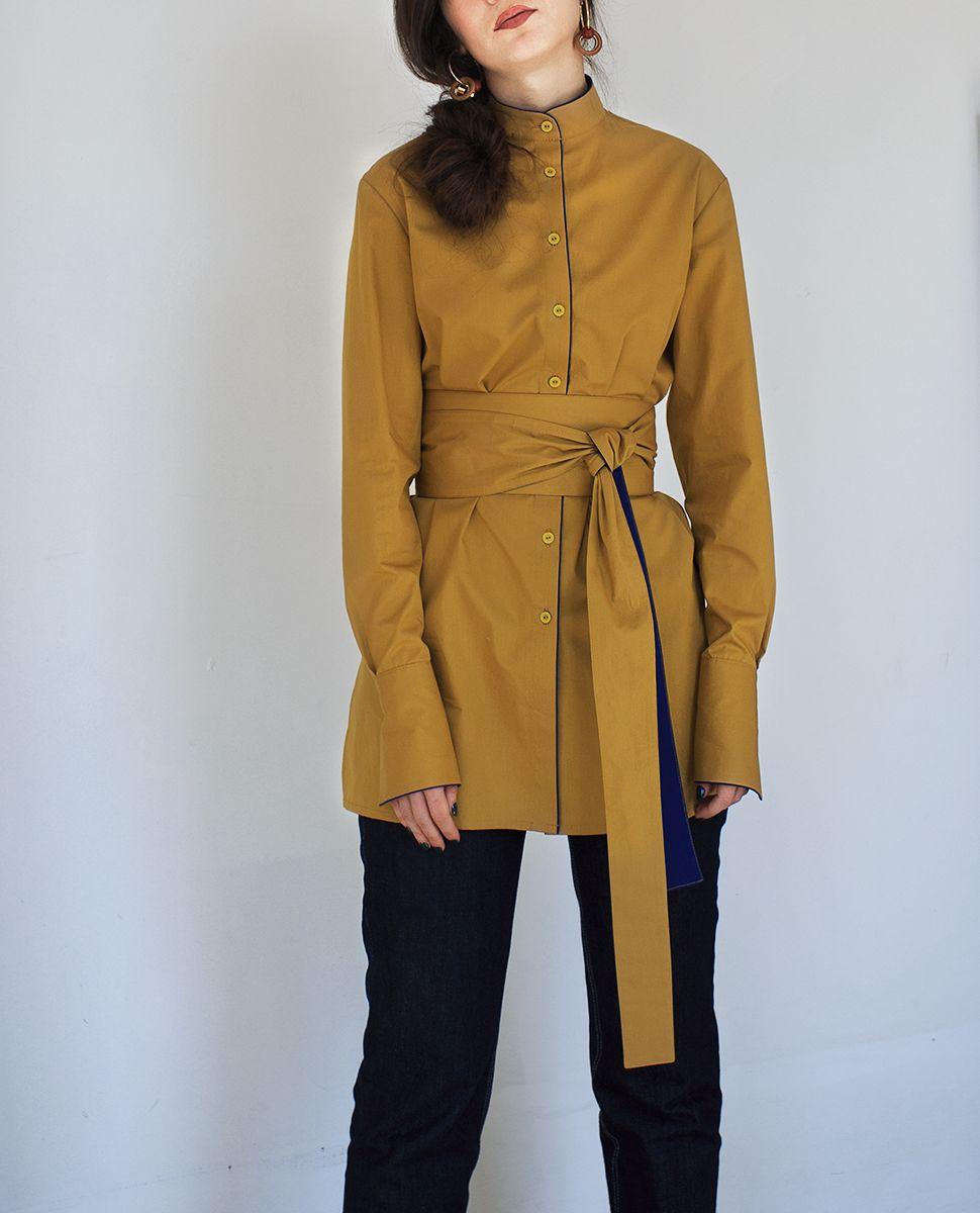 cae789027ba Удлиненная женская летняя рубашка горчичного цвета с широкими манжетами