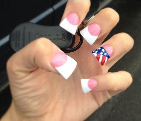Flag Flared Tip Nail 3 Flare Acrylic Nails Nails Nail Designs Glitter